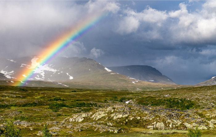 Regnbue over det alpine fjellandskapet i Sylan, Tydal. Foto: Geir Horndalen
