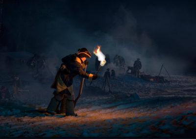 Bilde av Svensk soldat med fakkel i vinternatt